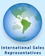globe image with international sales representatives text